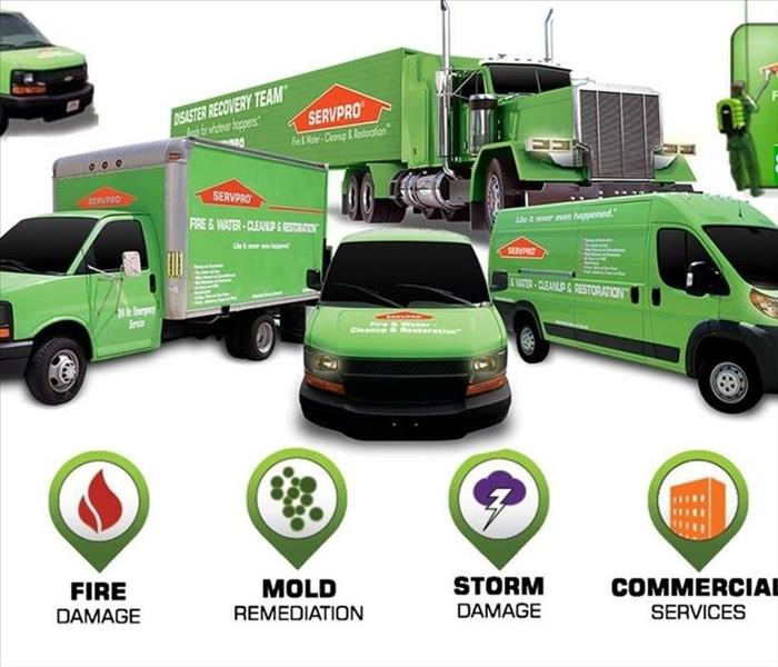 SERVPRO vehicles presentation with services listed below